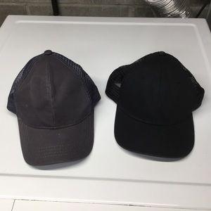 2pk plain black gray ball caps